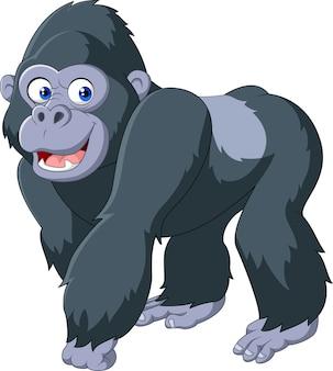 Gorila de espalda plateada de dibujos animados
