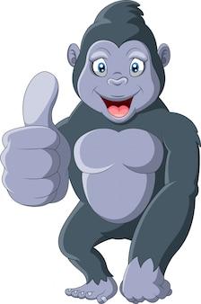 Gorila gracioso de dibujos animados con los pulgares para arriba