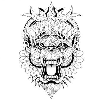Gorila ilustración, mandala zentangle y diseño de camiseta
