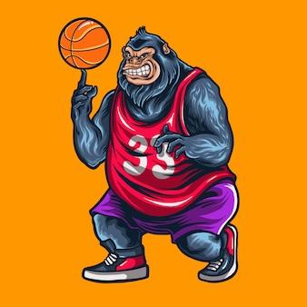 Gorila jugando baloncesto ilustración