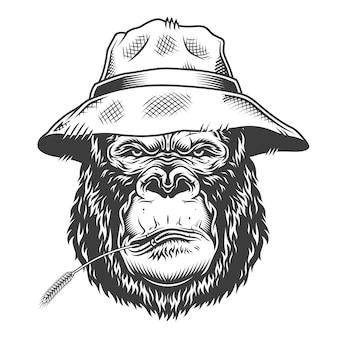Gorila serio en estilo monocromo