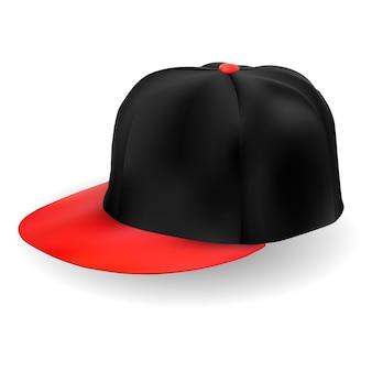 Gorra de beisbol. vector de sombrero negro aislado