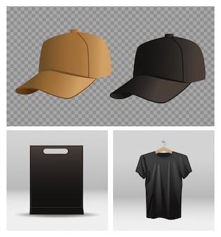 Gorra deportiva y camisa con bolsa de compras