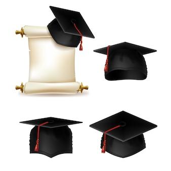 Gorra de graduación con diploma, documento oficial de educación en la universidad o colegio.