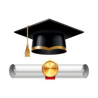Gorra de graduación y diploma enrollado con sello.