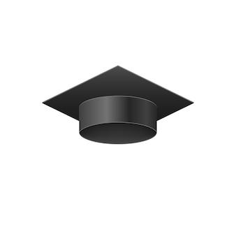 Gorra negra de graduación realista de la universidad 3d.