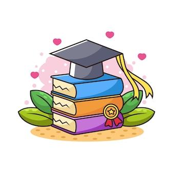 Gorra de posgrado con libros y dibujos animados de hojas. logotipo de educación. ilustración universitaria académica