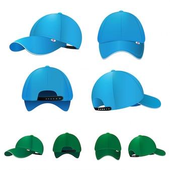 Gorras de béisbol en blanco en diferentes lados y colores. ilustración vectorial