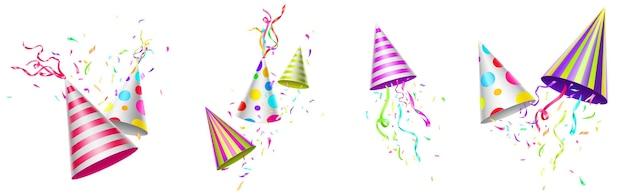 Gorras de cumpleaños con cintas de colores y confeti.