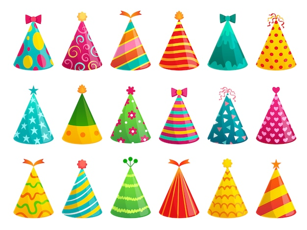 Gorras de fiesta de cumpleaños de dibujos animados. conjunto de ilustración de gorro de celebración divertida, cono de vacaciones y sombrero de papel colorido