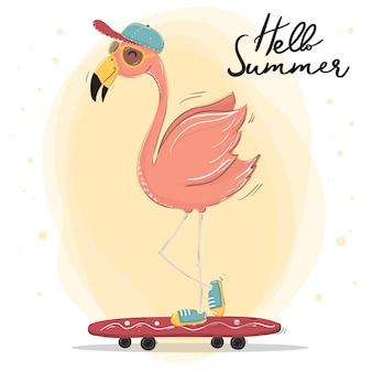 Gorro de flamenco rosado lindo usar gafas y gafas de sol skateboarding, vector de caracteres de horario de verano