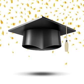 Gorro de graduación, fondo del concepto de educación. escuela universitaria universitaria, sombrero y título,