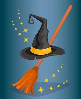 Gorro mago y escoba de bruja. estilo de dibujos animados