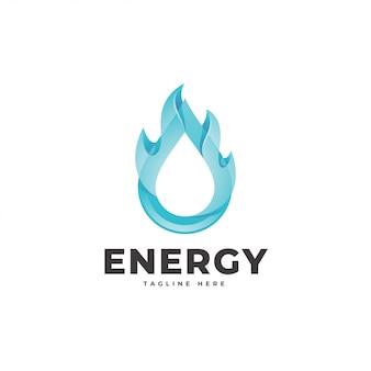 Gota de agua 3d y logotipo de energía de llama de fuego