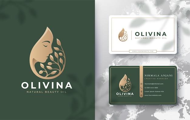 Gota de agua / aceite de oliva con logotipo de silueta de mujer y diseño de tarjeta de visita