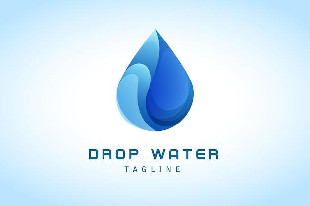 Gota de agua azul rebanada detalle degradado logo corporativo