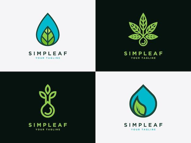 Gota de agua y conjunto de hojas icono de diseño logotipo de icono