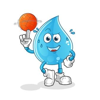 Gota de agua jugando baloncesto mascota