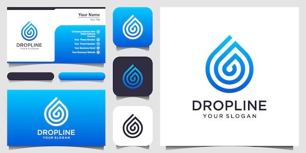 Gota de agua con logotipo de estilo de línea de arte y tarjeta de visita