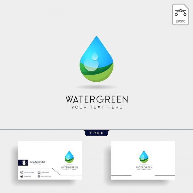 Gota de agua o agua verde logo plantilla vector ilustración