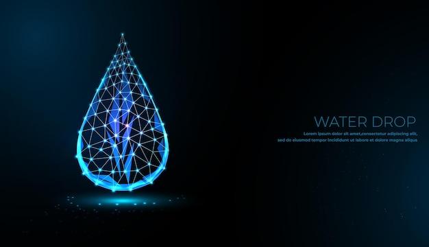 Gota de agua que cae. diseño de estilo low poly. fondo geométrico abstracto