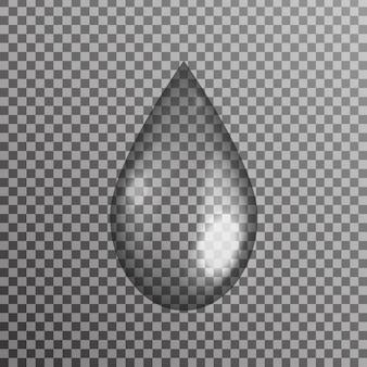 Gota de agua realista sobre el fondo transparente.