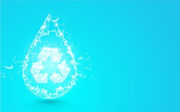 Gota de agua con símbolo de reciclaje de líneas, triángulos y diseño de estilo de partículas. vector de ilustración