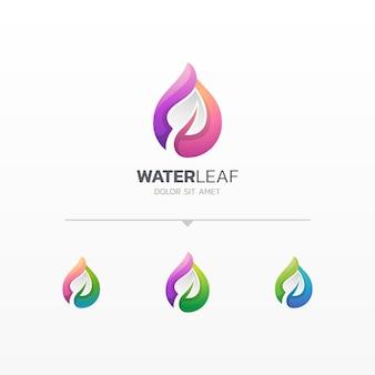 Gota de agua con variaciones del logotipo de la hoja.