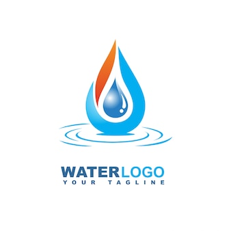 Gota de agua vector logo con hoja y mano