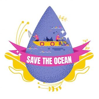 Gota de agua con voluntarios limpiando el océano