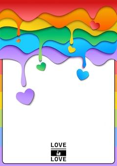 Gota arcoiris con marco de corazon