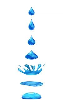Gota de líquido, cae agua y hace un chapoteo, color azul. fases, cuadros, para animación.