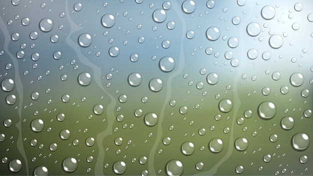Gota de lluvia en la ventanilla del coche del parabrisas con la naturaleza borrosa