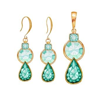 Gota de menta verde, cuentas de piedras preciosas de cristal cuadradas y redondas con elemento dorado. colgante y aretes de oro dibujo acuarela.