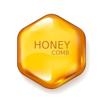 Gota de miel realista. hexágono sobre fondo blanco. colores globales