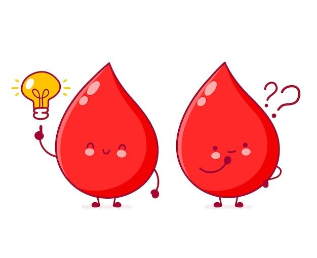 Gota de sangre divertida feliz linda con el signo de interrogación y la bombilla de la idea.