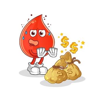 Gota de sangre rechazar ilustración de dinero. mascota de dibujos animados mascota