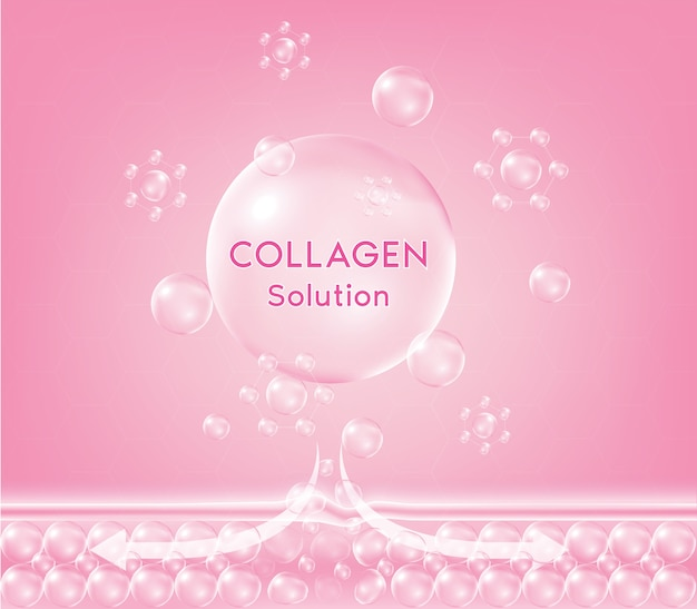Gota de suero de colágeno rosa con cosmético. gota nutritiva reafirmante para la piel. crema hidratante limpiadora joven piel irritada sensible.