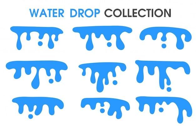 Gotas de agua y cortinas de agua en un estilo simple y plano de dibujos animados.