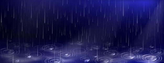Gotas de agua que caen y ondulaciones del charco sobre fondo azul oscuro