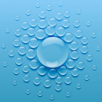 Gotas de agua sobre fondo azul