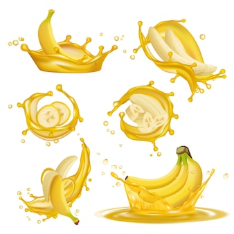 Gotas amarillas líquidas de jugo de bannanas frutas saludables postres exóticos goteando imágenes promocionales realistas en 3d