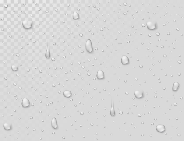 Gotas de lluvia de agua. gotas en la ventana transparente de cristal mojado. gotas de ducha de agua fotorrealistas