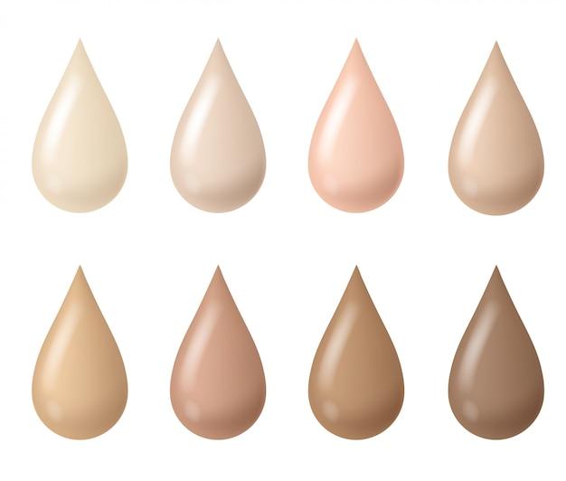 Gotas de maquillaje. base de maquillaje en crema bb líquida para mujer con tintes beige, tonos cosméticos de piel fluida, gotas de textura cremosa. conjunto
