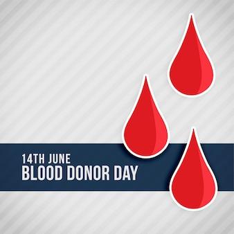 Gotas de sangre roja día mundial del donante de sangre