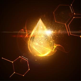 Gotas de suero de colágeno o esencia de aceite dorado con partículas y efecto de luz de destello de lente. ilustración de belleza de producto innovador clínicamente probado