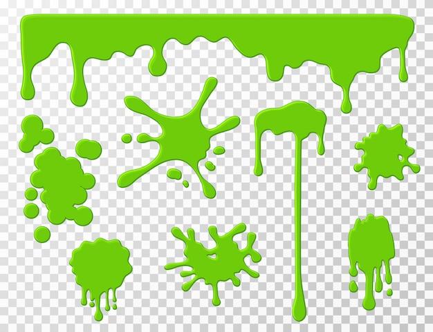 Goteando limo. gota verde que gotea moco líquido, manchas y salpicaduras.