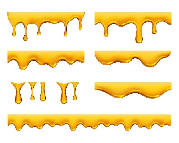 Goteando miel. plantilla de salpicaduras de aceite líquido de jarabe o jugo realista amarillo dorado