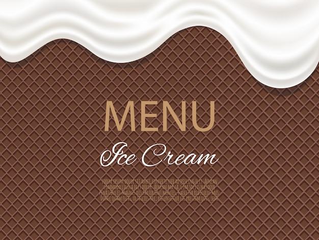 Goteo de helado blanco que fluye sobre la textura de waffle