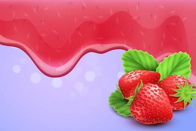Goteo de mermelada de fresa derritiendo gotas de fondo realista